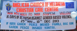16 days of Activism Against Gender Based Violence banner in 2013