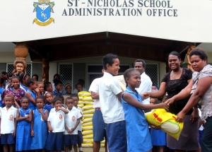 St.Nicholas school hands over donations to the Diocese of Guadalcanal
